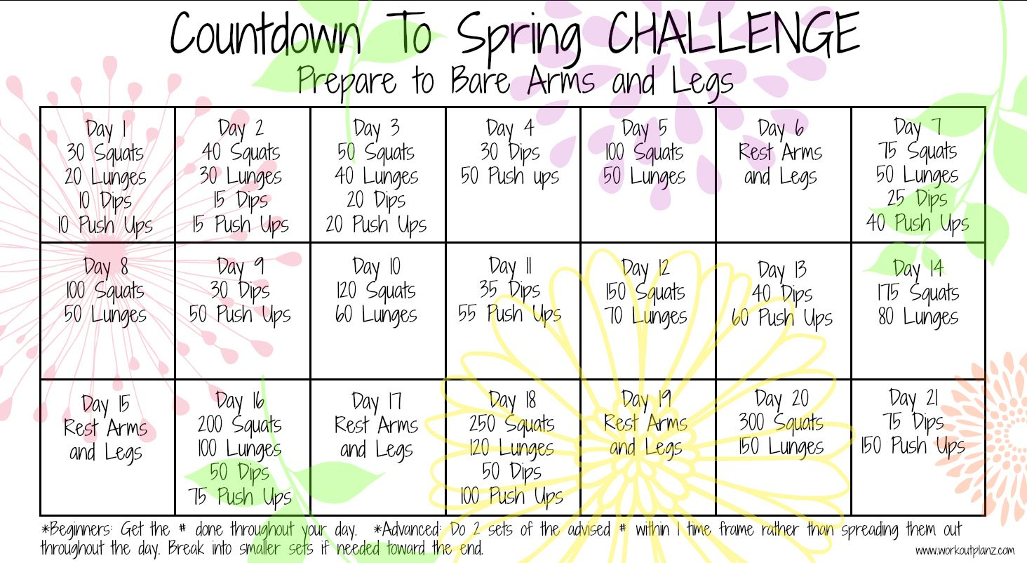 countdown to spring challenge