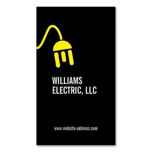 Bold Yellow Electrician Logo Modern Business Card Pinterest Card - Quick business card template