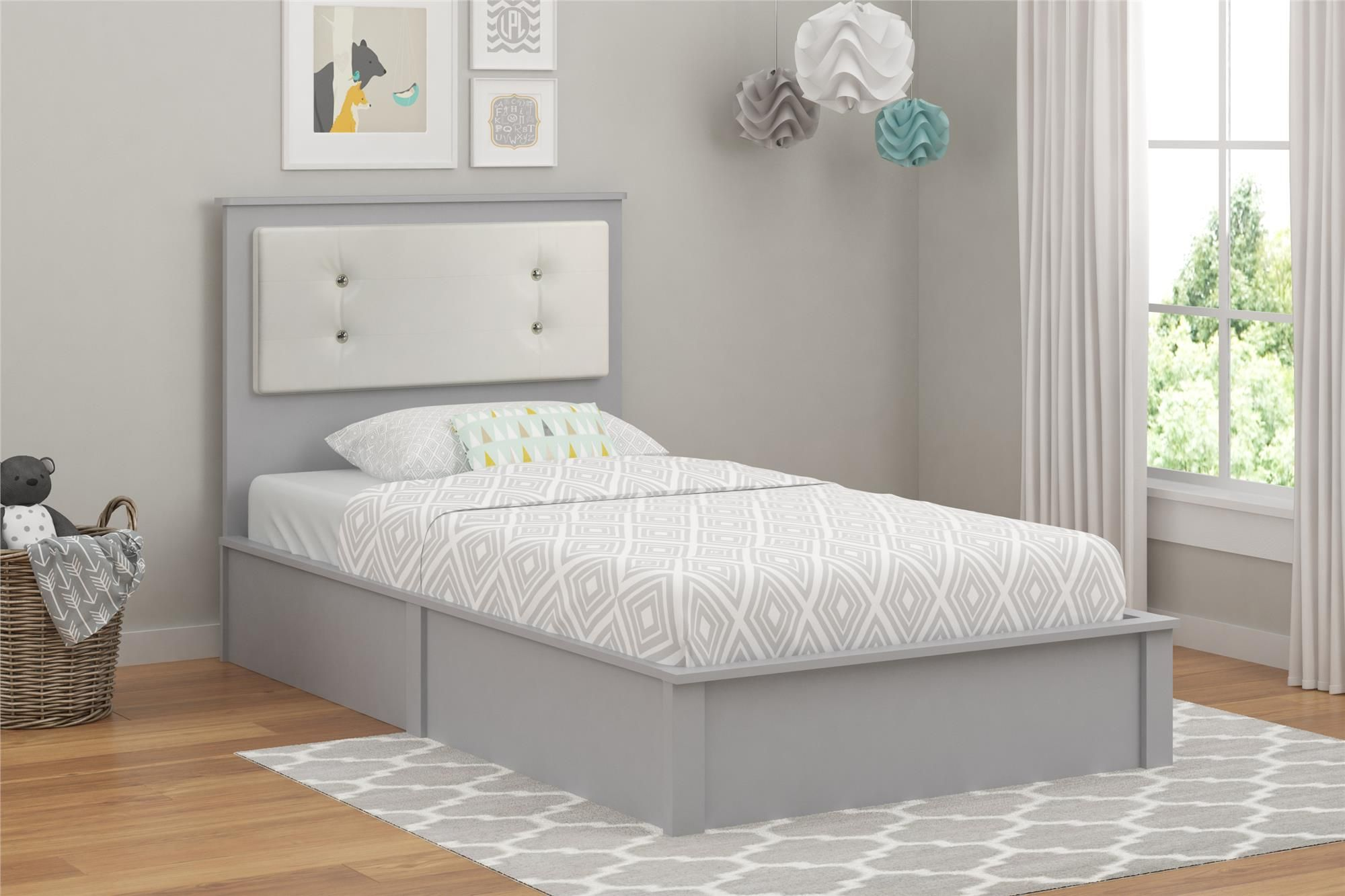 The Cosco Willow Lake Twin Platform Bed Will Be The Centerpiece Of Any Child S Bedroom The Headboard Features A Panel Twin Platform Bed White Upholstery Home