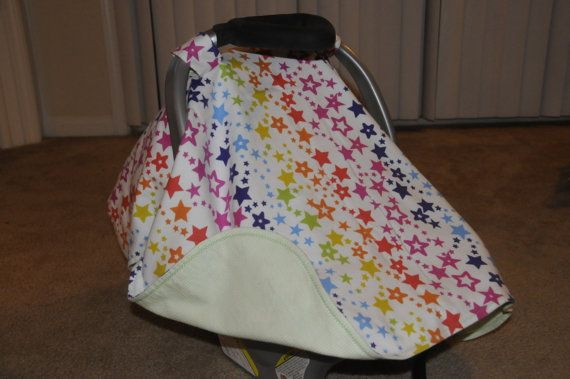 Rainbow stars flannel car seat canopy by BBsBanners on Etsy