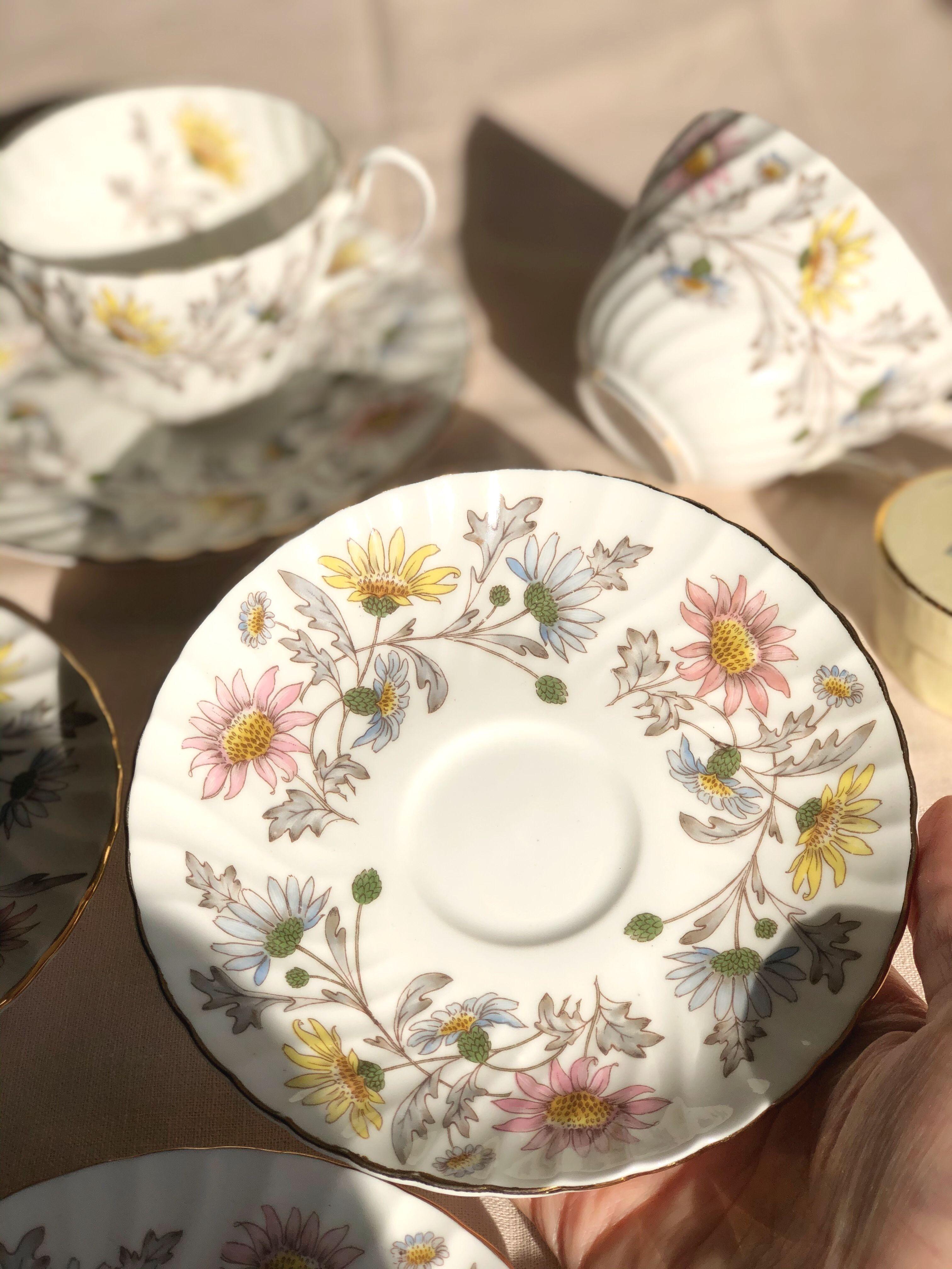 Antique tea cup saucer cake plate trio foley donald