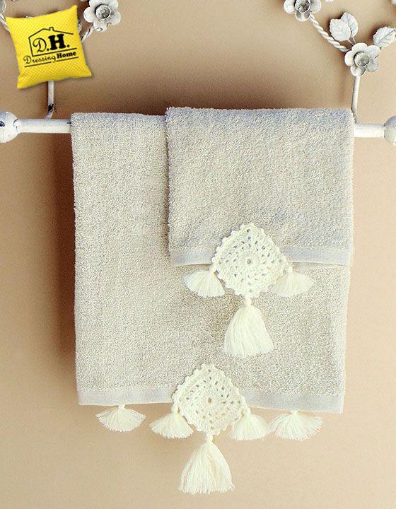 Coppia di asciugamani in colore beige della GEOMETRIE COLLECTION con ...