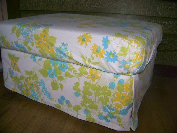 Upcycled Storage Ottoman  Pretty Vintage Fabric by VerucasVintage, $75.00
