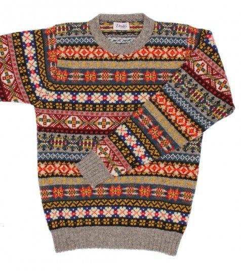 Long Sleeve Shetland Wool Fairisle Crew Neck Sweater - Knitwear ...
