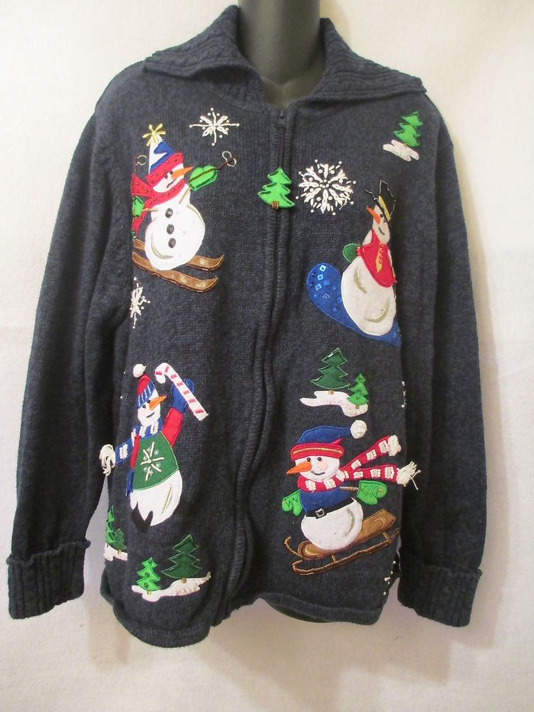 Womens Tiara International Ugly Christmas Sweater Size 1XL Large Party Snowman