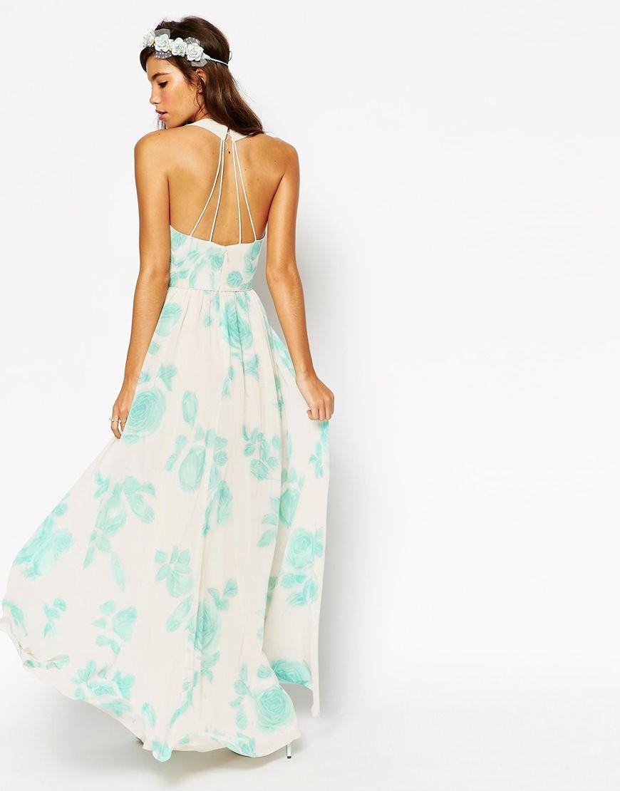 Imagen 2 de Vestido largo con estampado de rosas en menta tipo ...