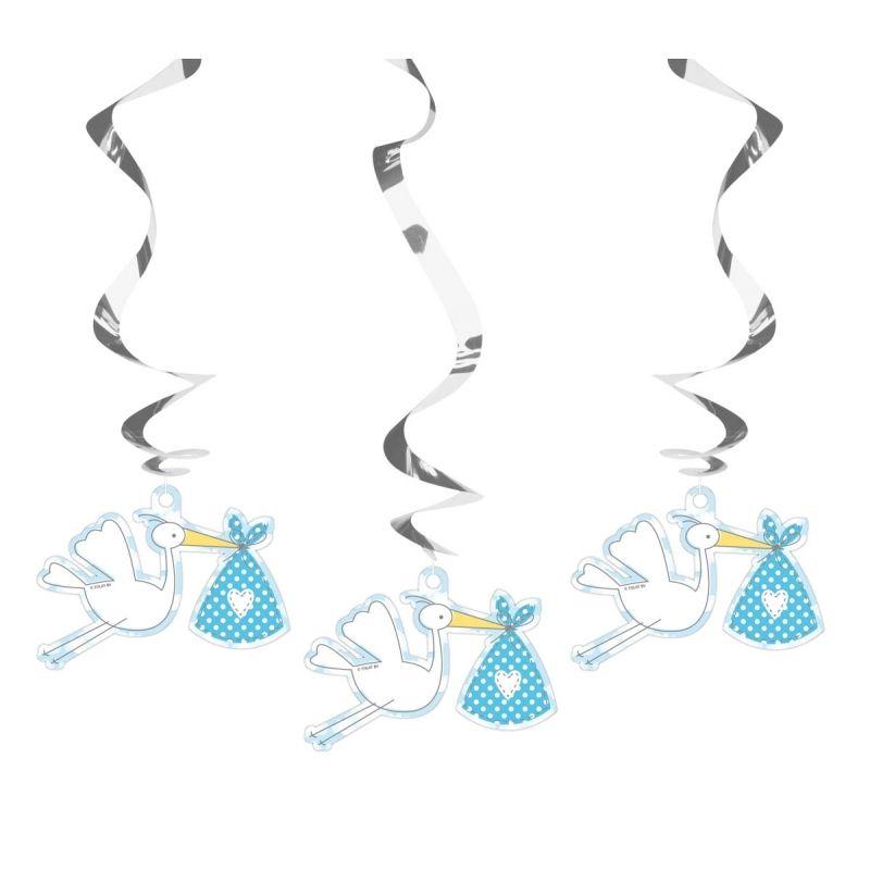 Deze 3 blauw met metallic zilveren rotorspiralen voor de geboorte van een jongen hebben een hoogte van ca. 60 cm. Aan de zilveren folie hangers slierten hangen kartonnen ooievaars. Dubbelzijdig bedrukt.