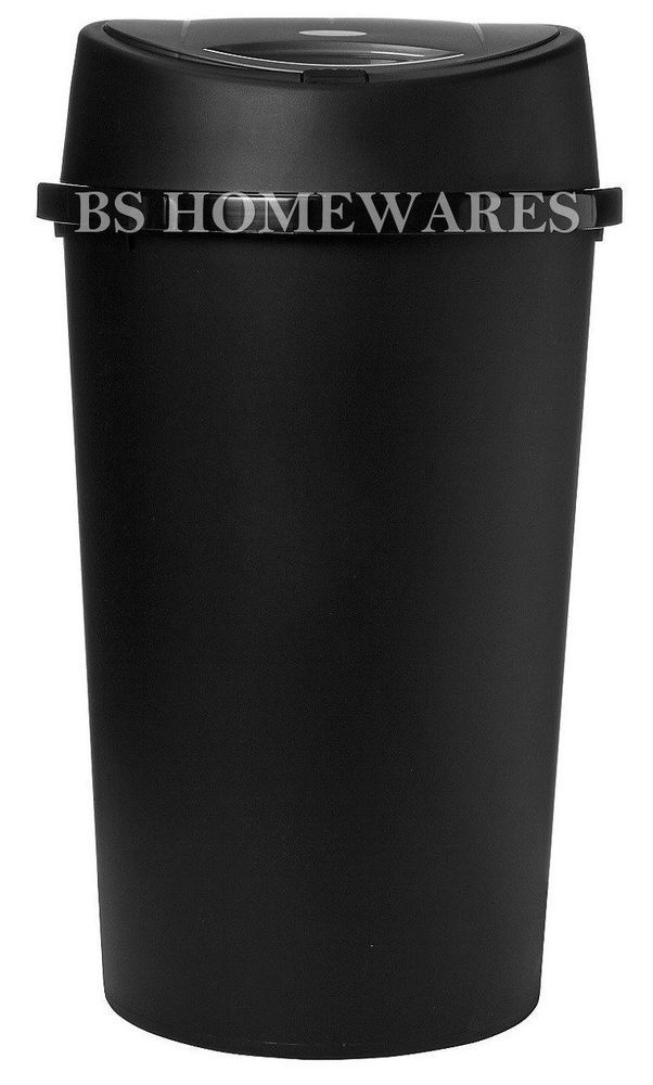 Touch Bin 45 Liter.Plastic Touch Top Bin 45 L Litre Black Kitchen Paper Rubbish Dustbin