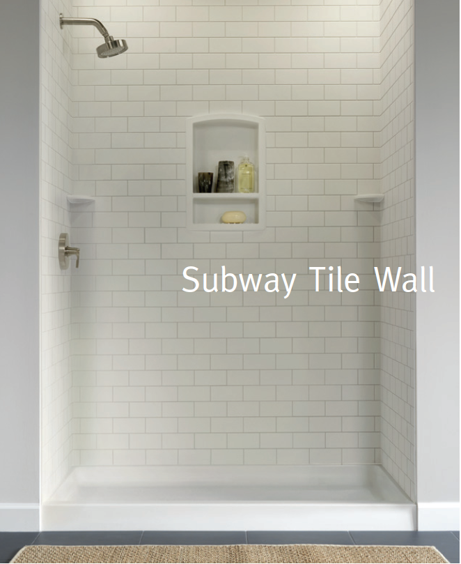 Subway Tile Wall Boards Also 12x12 Tiles Great Brochure Takes A Minute To Upload But Worth Th White Subway Tile Shower Subway Tile Showers Shower Wall Kits