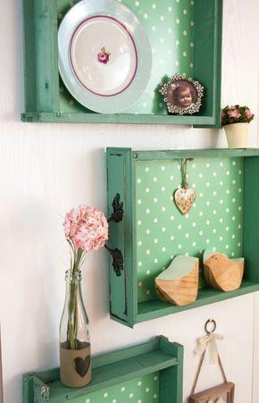 Für Upcycling Ideen einfach Schubläden als Regale verwenden   DIY ...