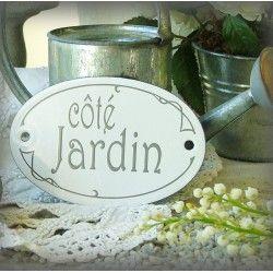 Plaque ovale Côté Jardin sérigraphie gris sur émail blanc