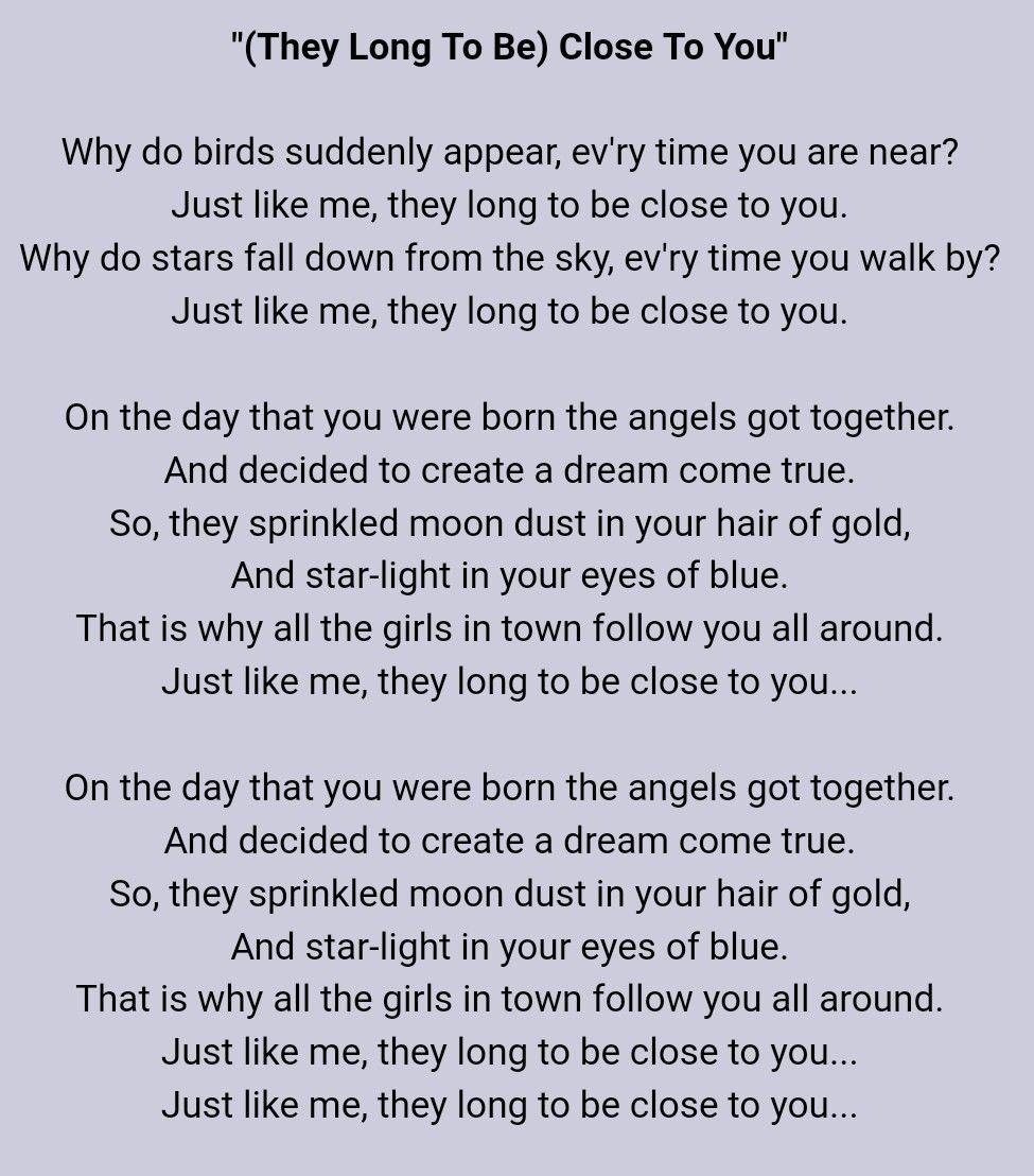 Carpenters Close To You Lyrics Close To You Lyrics Music Words Lyrics