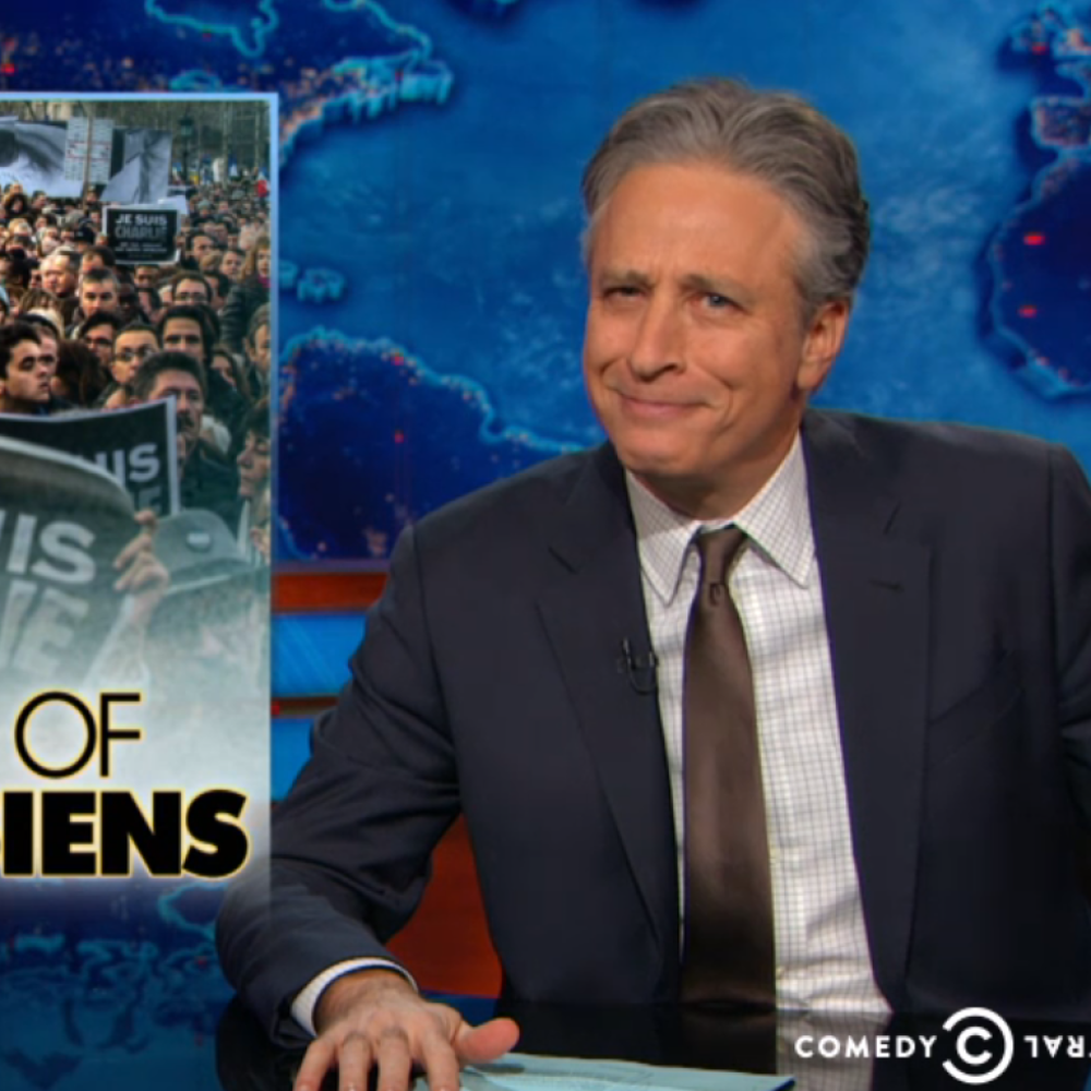 Watch Jon Stewart Blast the Hypocrisy of World Leaders at the Paris Solidarity Rally