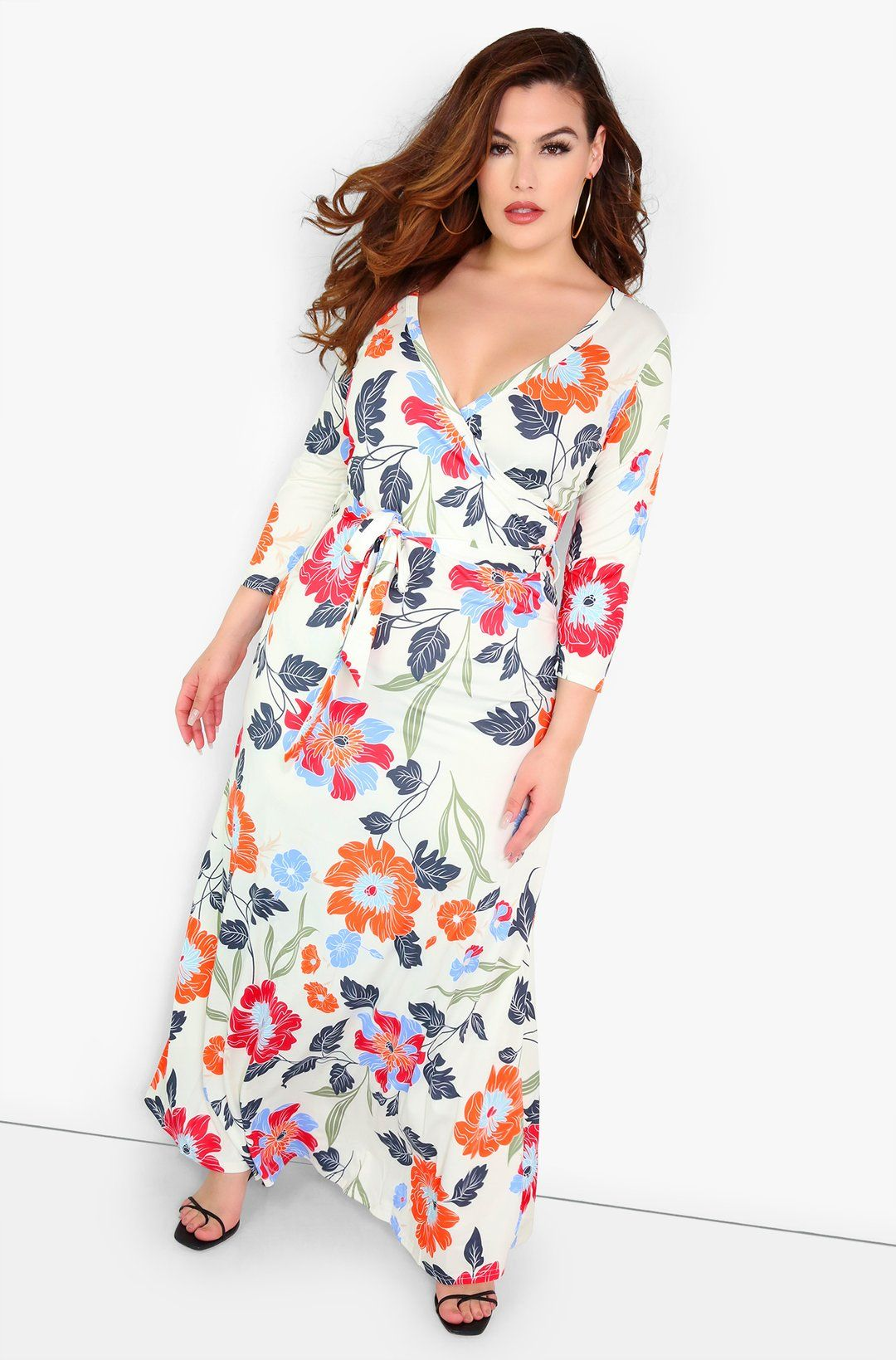 Orange Floral Maxi Dress Plus Sizes Available In Both Missy And Plus Sizes Shop Rebdolls For The Latest In Trendy Af Maxi Dress With Sleeves Dresses Fashion [ 1639 x 1080 Pixel ]