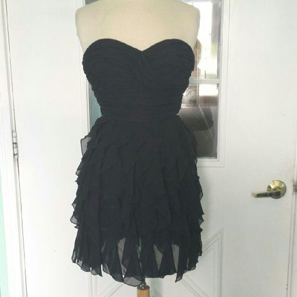 B.Smart Strapless Black Dress w/Ruffled Skirt
