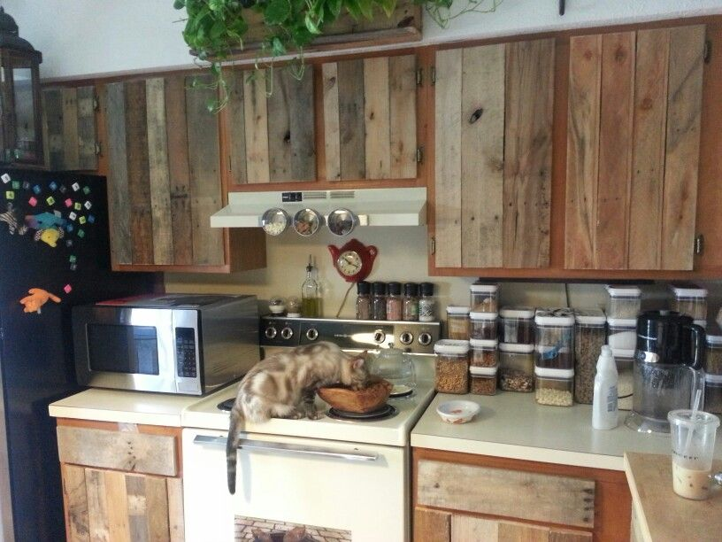 Diy Cabinet Refacing With Pallet Board Pallet Kitchen Diy Kitchen Cabinets Diy Cabinets