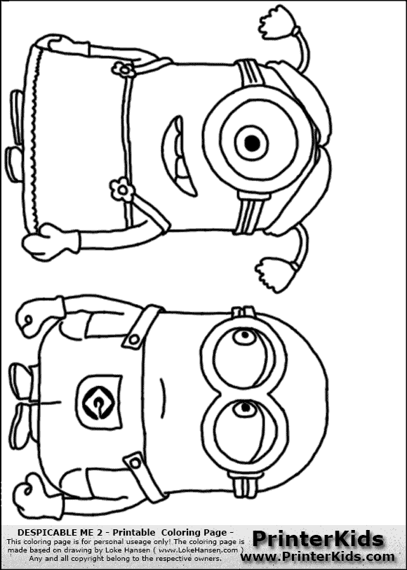 Despicable Me 2 - Minion #10 Two Minions Standing - Coloring Page ...