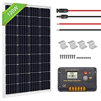 Amazon Com Eco Worthy 12v 100w Monocrystalline Solar Panel 20a Lcd Charge Controller A Pair Of 16ft Solar Cables Solar Panels Off Grid Solar Panels Solar