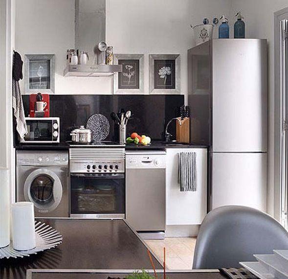 Resultado de imagem para maquina de lavar roupa na cozinha for Decorar apartamento pequeno fotos