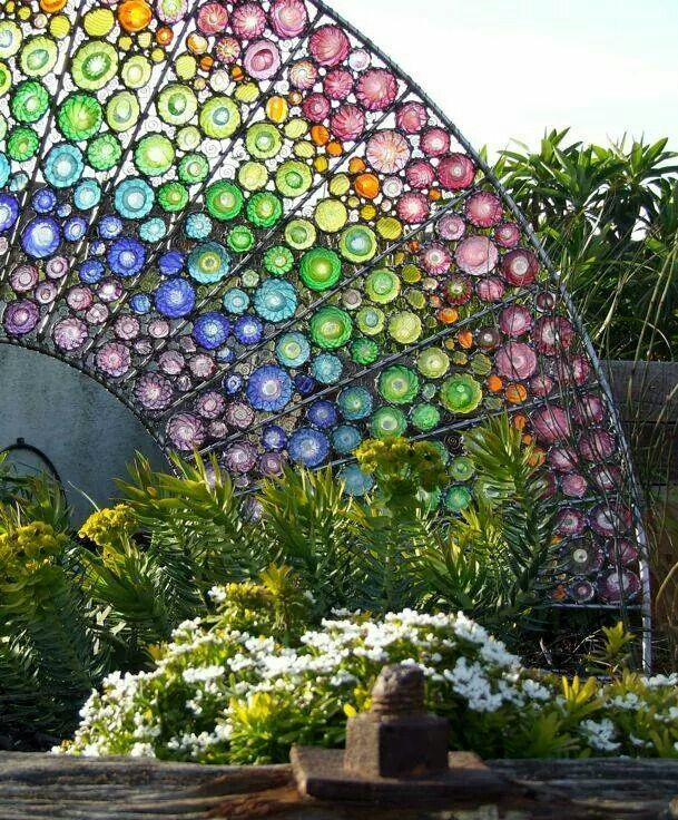 Art For The Garden: Colored Glass Bottle Bottoms, Made Into A Rainbow. Make