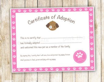 Doll Adoption Certificate Template   Google Search