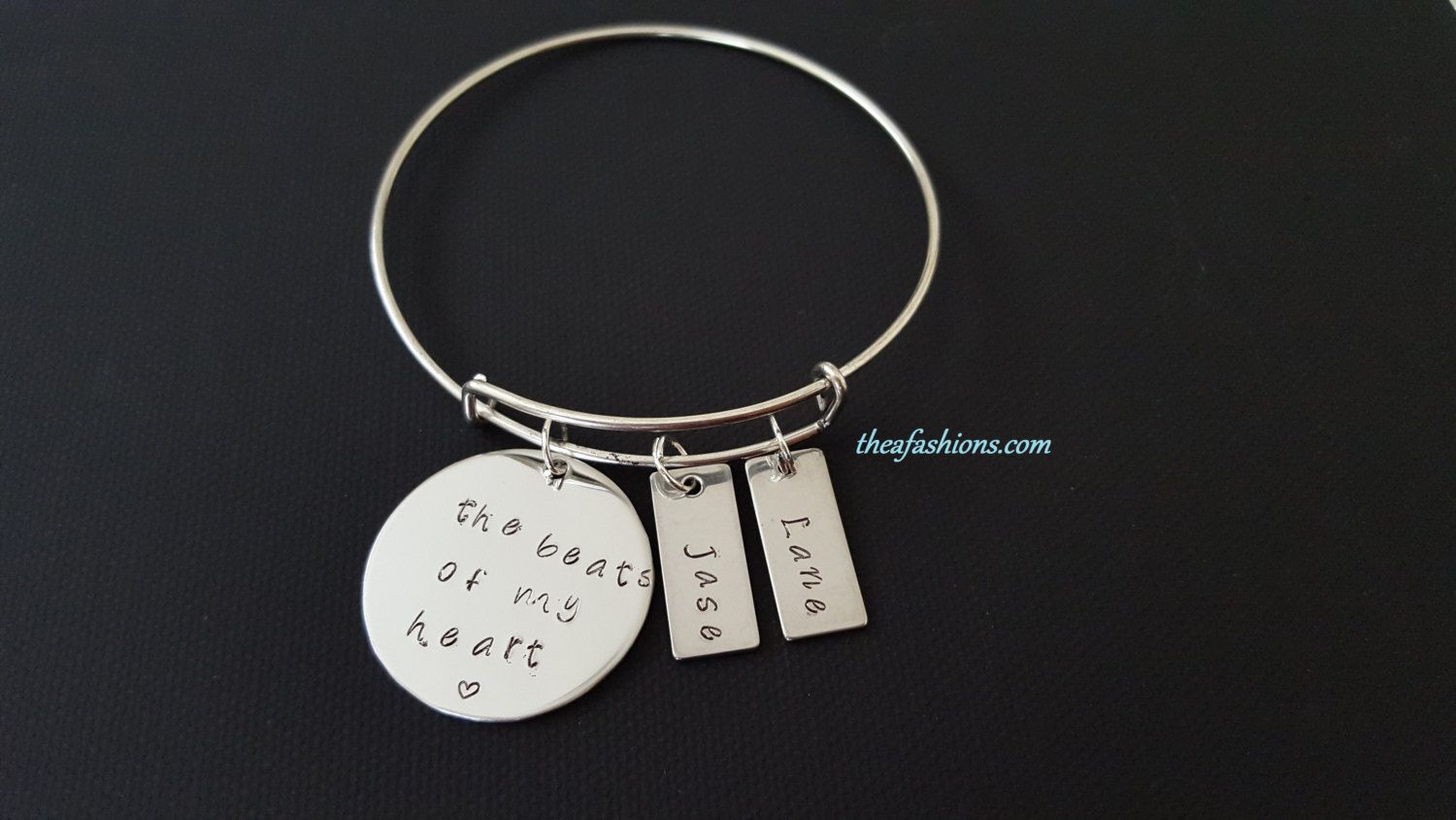 The Beats of my Heart - Personalized Mother's Stainless Steel Bracelet,Gift For Mom,Mother day Gift