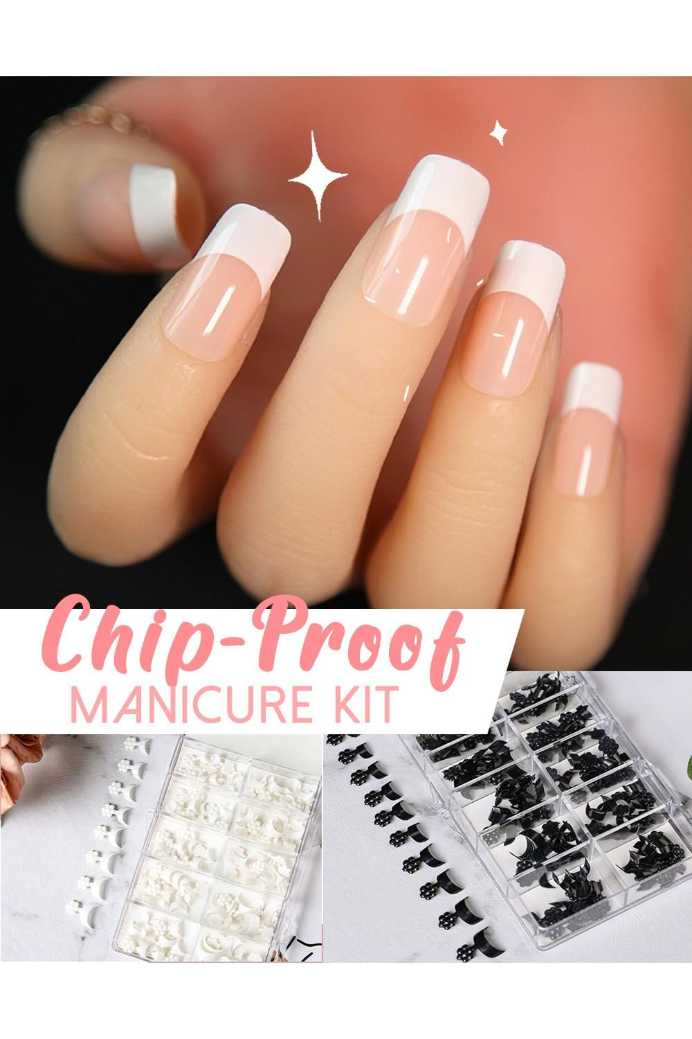 French Chip Proof Manicure Kit Video In 2020 Manicure Manicure Kit Coffin Nails Designs