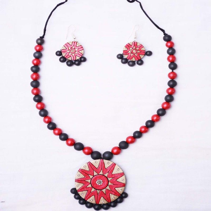 Red Colour Terracotta Necklace Set Jewelleryset Earring Jewellery Gift Handmade Handcrafted Handicraft Indianbride