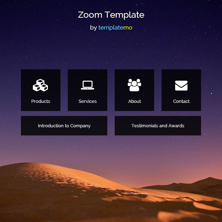zoom is free html5 website template animated zoom in out effects by jquery and faded in out background images for different pages