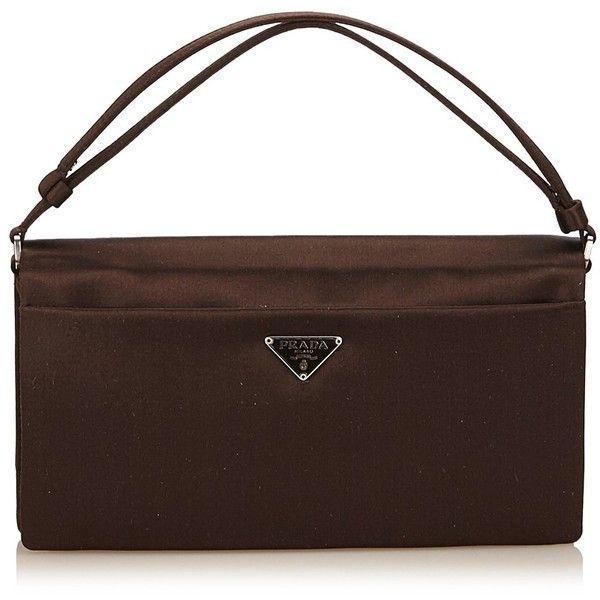 Pre-owned Satin Handbag ($250) ❤ liked on Polyvore featuring bags, handbags, shoulder bags, brown, brown shoulder bag, shoulder strap handbags, brown hand bags, prada handbags and prada