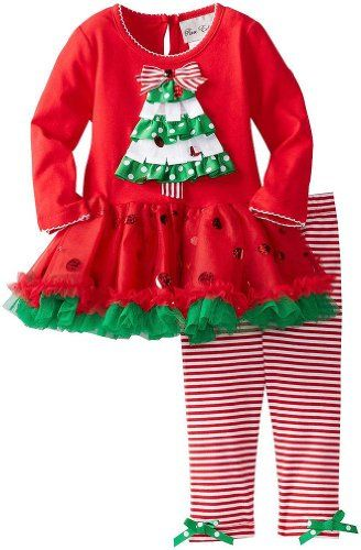 2bc4b7964a8 Rare Editions Girls 2T-4T Red Green Ribbon Christmas Tree Tutu Legging  outfit