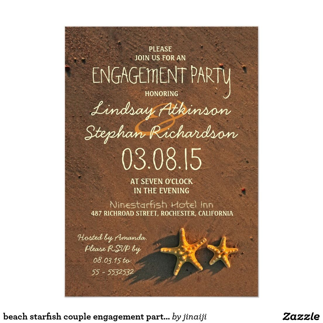 Beach starfish couple engagement party invitations | Engagement ...
