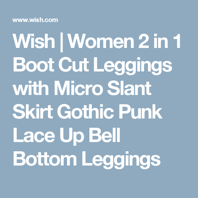 c1890d5e24b56 Wish | Women 2 in 1 Boot Cut Leggings with Micro Slant Skirt Gothic Punk  Lace Up Bell Bottom Leggings