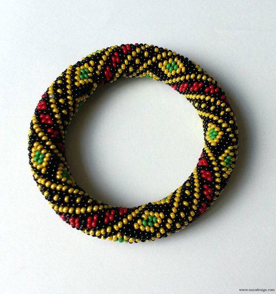 Bracelet - Beaded bracelet - Beaded Crochet Bracelet-Authentic Bracelet-Rug Pattern Bracelet-