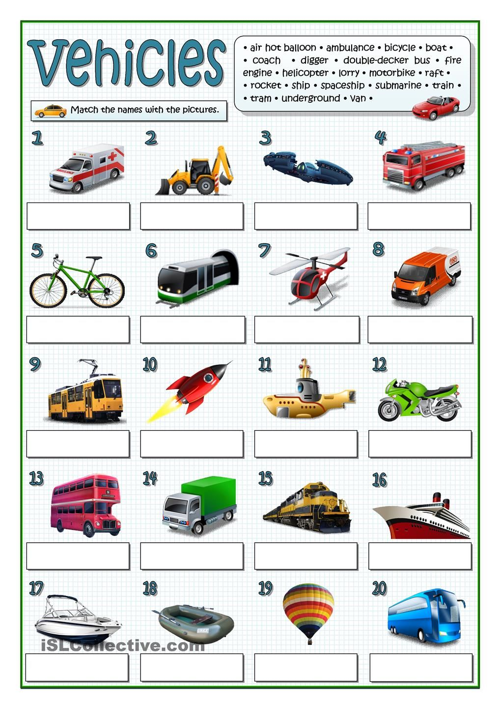 vehicles vocabulary english lessons worksheets und vehicles. Black Bedroom Furniture Sets. Home Design Ideas