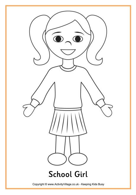 Printable boy and girl patterns school girl colouring page