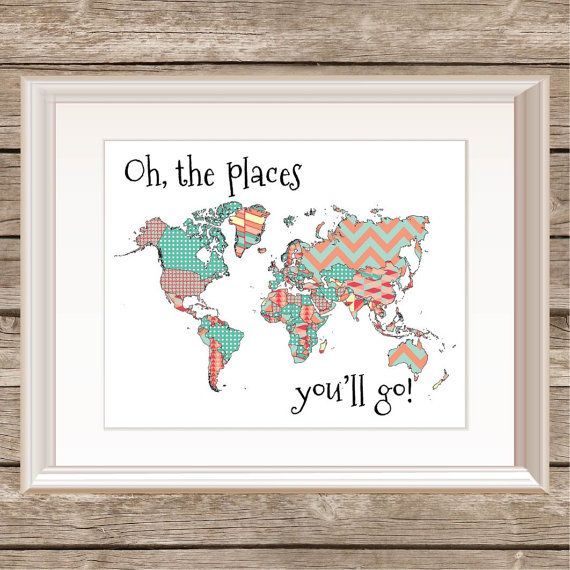 Dr seuss oh the places youll go printable instant download items similar to oh the places youll go patterns print map print world map colorful typography print dr seuss quote child print on etsy gumiabroncs Image collections