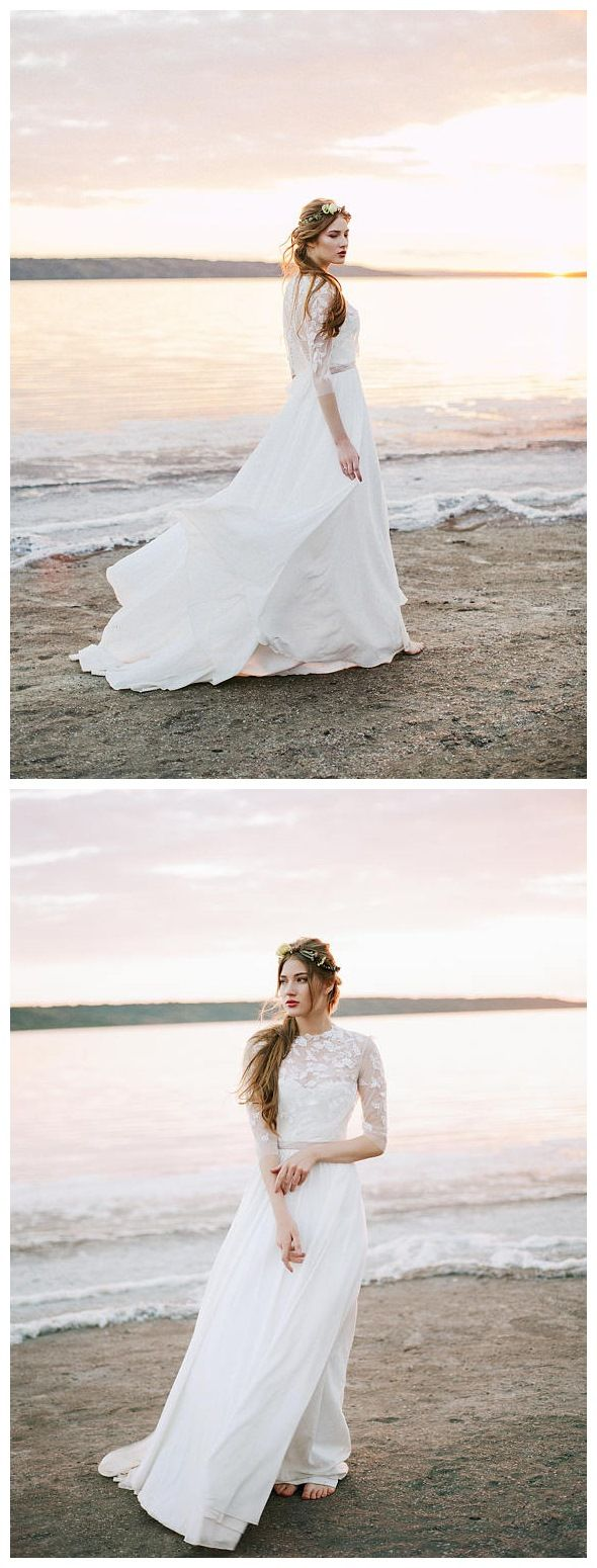 A line ivory chiffon beach wedding dresses with sleeves see through