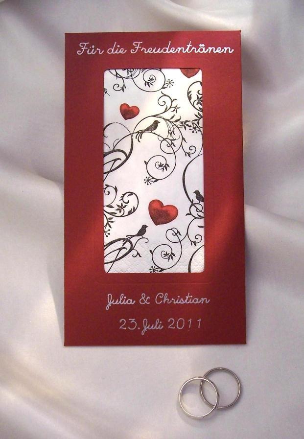 Hochzeitskarten Rot Silberschrift Taschentuch Ornament With Hearts