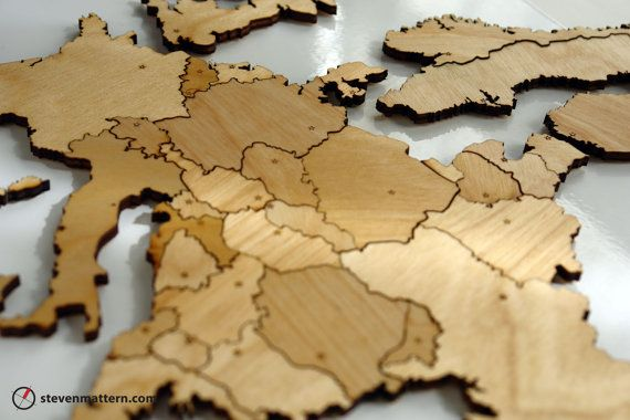 Make European geography interesting and beautiful with this one of a kind laser cut puzzle made from sturdy birch plywood