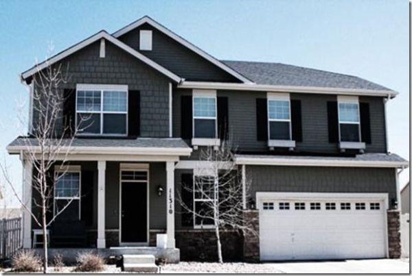exterior house color.. Dark Door, Dark Shutters, Grey Siding and ...