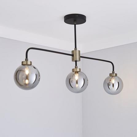 Dunelm Tanner Black Glass 3 Light Ceiling Fitting Ceiling Lights