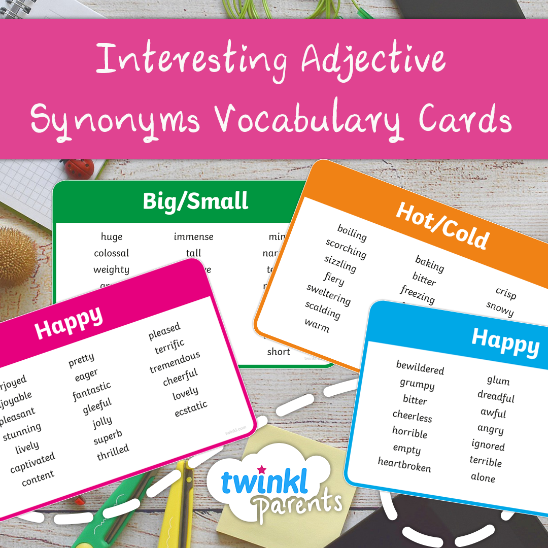 Interesting Adjective Synonym Cards Ages 5