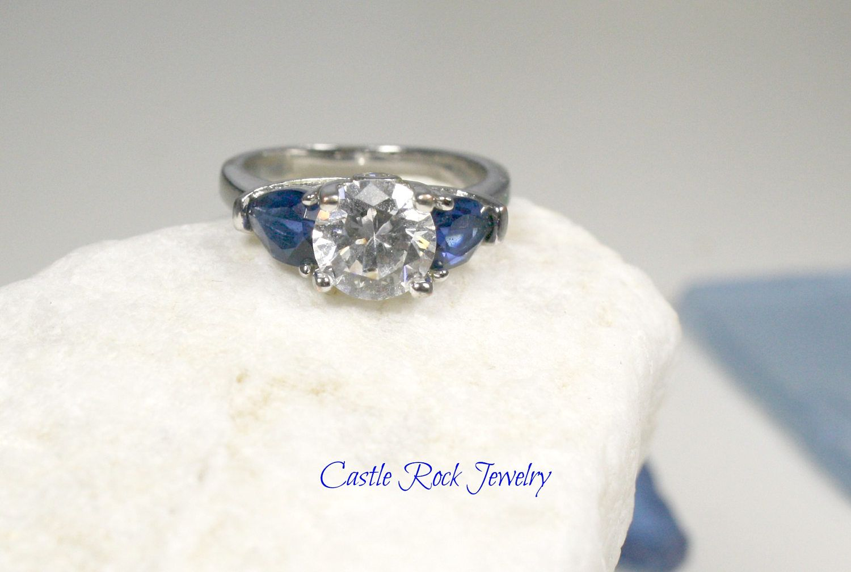 Swarovski Diamond and Sapphire Ring.  Silver.  Size 9.5 by CastleRockJewelry on Etsy