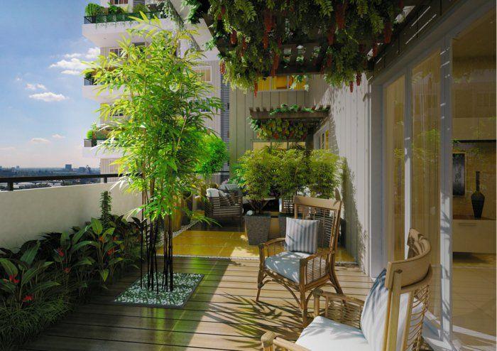 Terrasse Gestalten Ideen Pflanzen Bambus Stühle