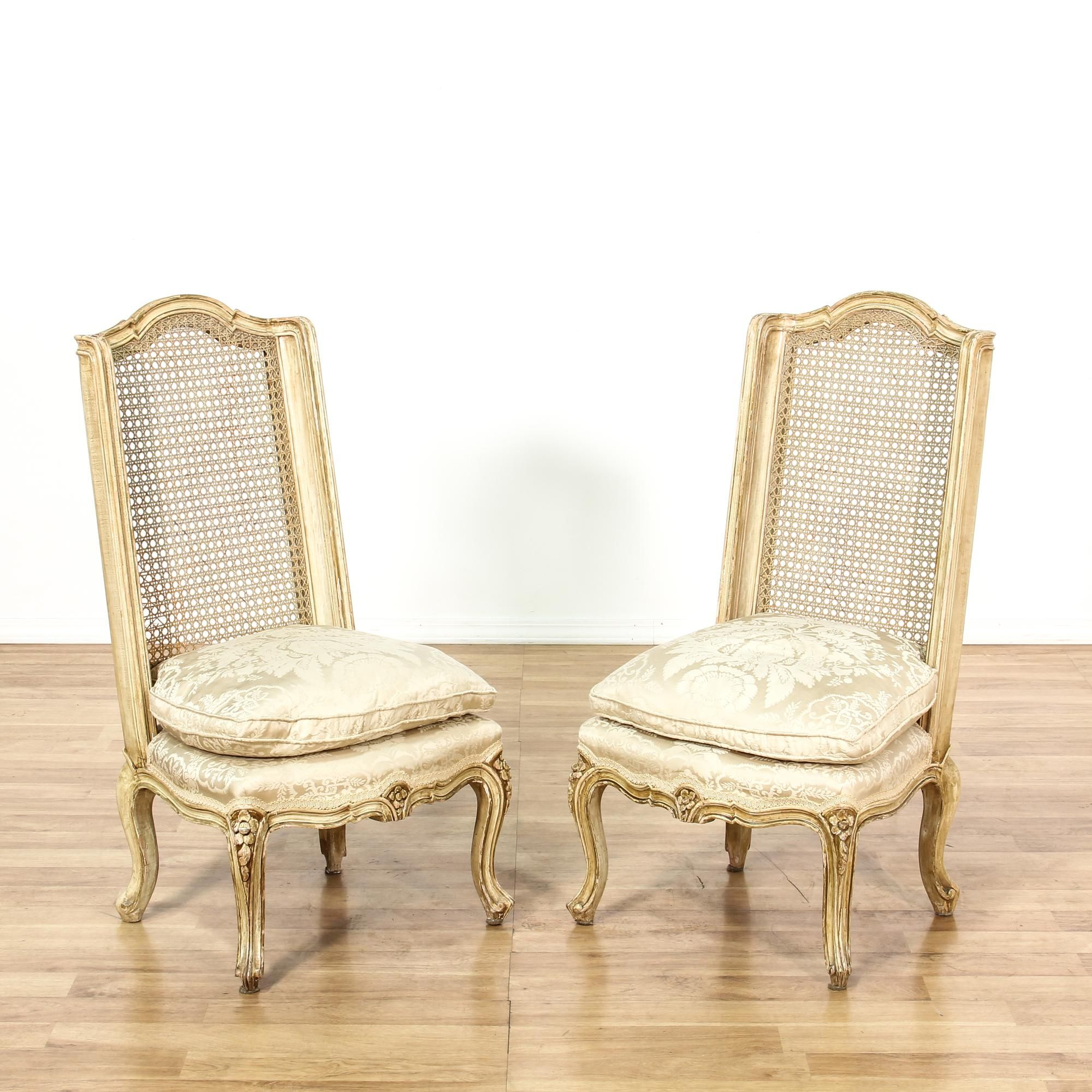 Pair Cream French Provincial Cane Back Chairs