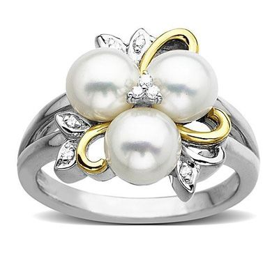 Zales 7.0mm Cultured Freshwater Pearl and Diamond Corkscrew Ring in Sterling Silver SoThm