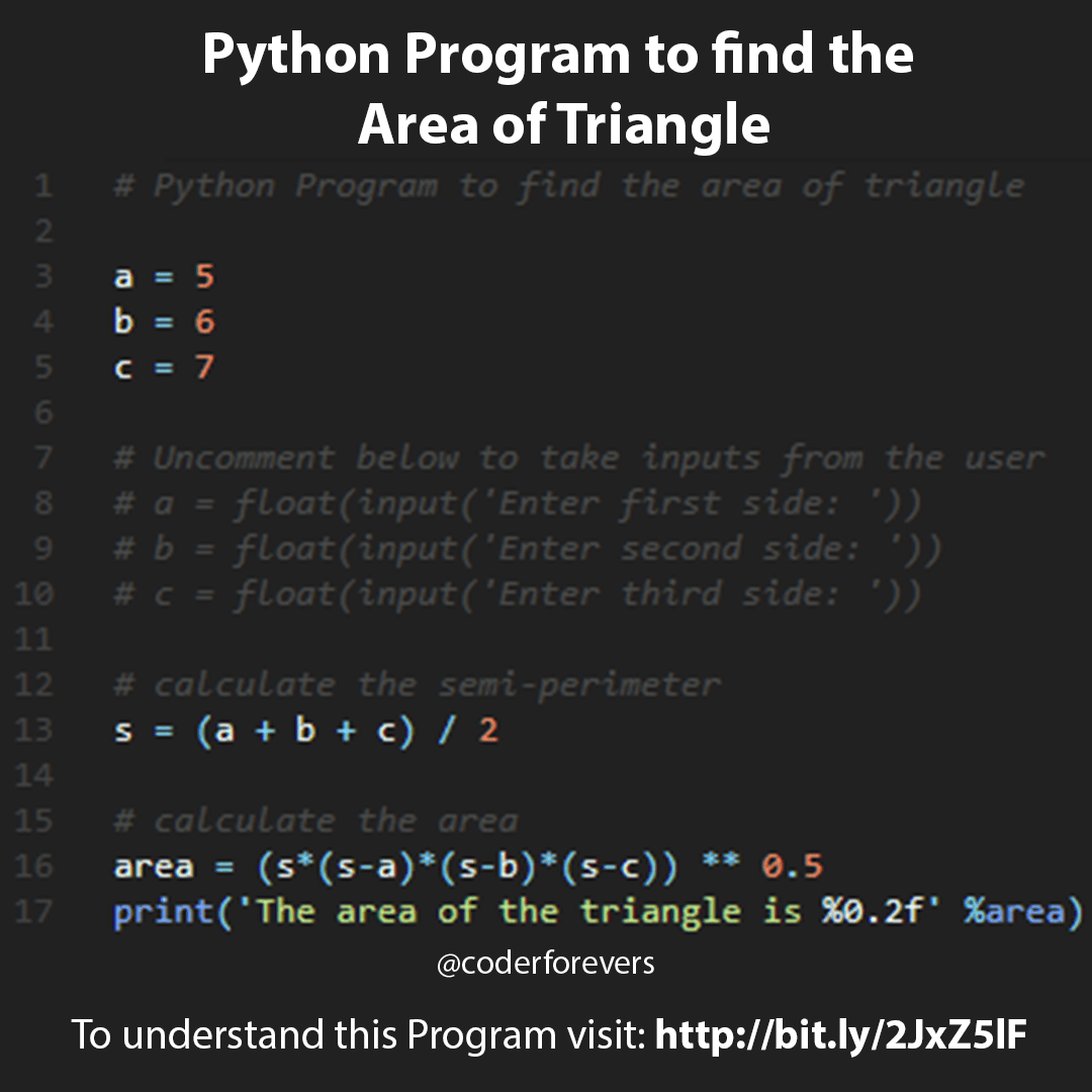 Python Program to find the area of Triangle   Python