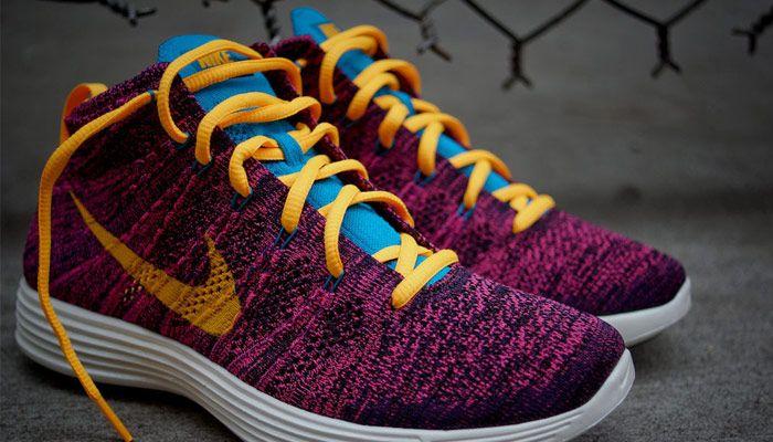 online store ba5d9 36617 Nike Lunar Flyknit Chukka Black Laser Orange Grand Purple Neo Turquoise