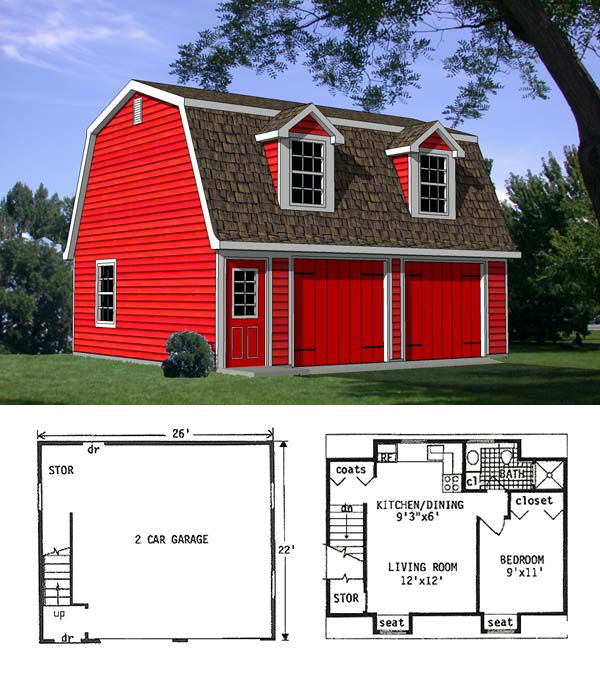 Car Garage Loft Retro Style: 2 Car Garage Apartment Plan Number 94343 With 1 Bed, 1